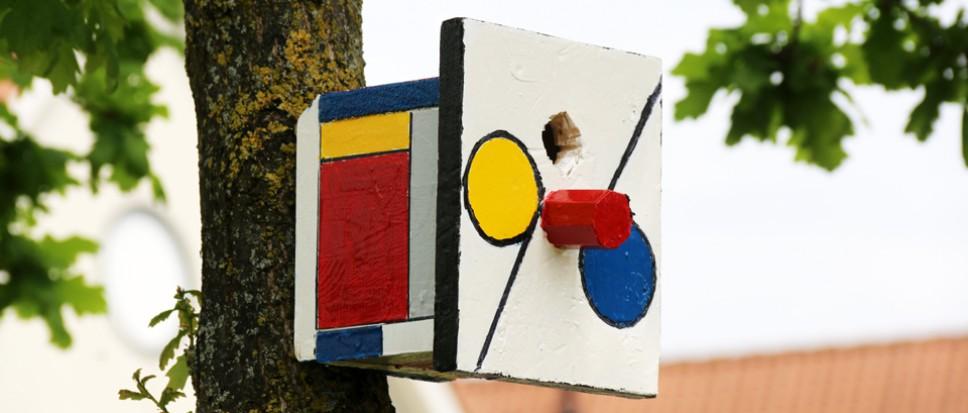 Vogelhuisjes in Mondriaan-design