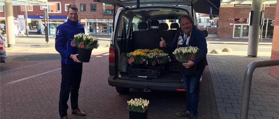 Rabobank deelt 2.200 bossen tulpen uit